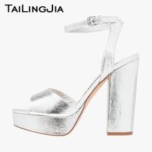 Block Heel Paltform Brand Women Shoes Woman Sandals Peep Toe Ladies Silvery Slingback Party Buckle Plus Size