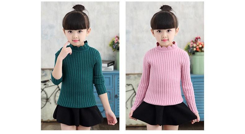 knitting big baby girls sweaters kids winter sweater 2016 long sleeve tops knitted kids sweaters girls pink green black kids top (18)