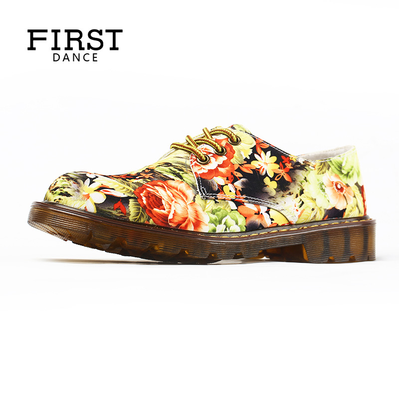 FIRST DANCE Women Oxford Nice Chaussures Femme Fashion DR Martin Shoes Flats Customized 3D Flower Prints Female Shoes For Women
