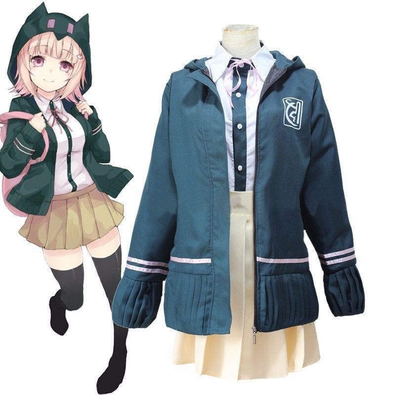Super DanganRonpa 2 Costumes Chiaki Nanami Costume Jacket Shirt Skirt School Uniform Sailor Suit Halloween Party Cosplay Costume
