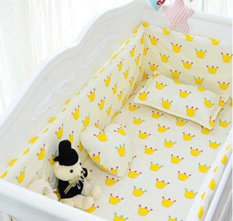 Discount! 6pcs baby bedding sets unisex 100% cotton corduroy crib set ,include(bumper+sheet+pillowcase)