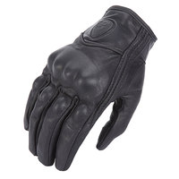 Retro Pursuit Perforated Real Leather Motorcycle Gloves Leather Touch Screen Men Women Moto Waterproof Gloves Motocross