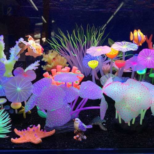 11 Leaves Silicone Artificial Fish Tank Aquarium Coral Plant Ornament Pets Underwater Decors