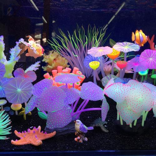 11pcs/lot  Leaves Silicone Artificial Fish Tank Aquarium Coral Plant Ornament Pets Underwater Decors