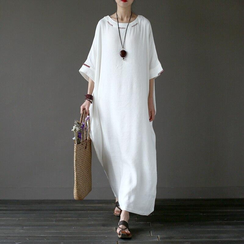 Solide blanc grande taille en lin broderie femmes Longue Robe originale oversize Robe d'été en lin marque Robe Longue Femme A042