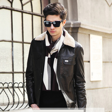 Ptslan 2016 Men's Genuine Leather Jacket Real Lambskin Coat