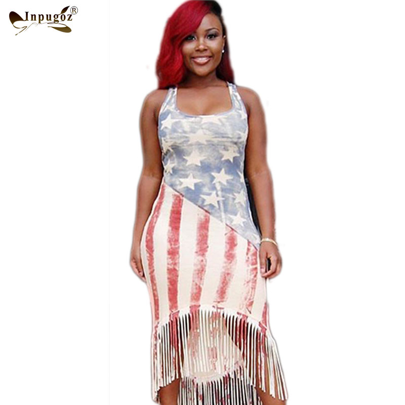 US $15.61 |S 4XL Plus Size American Flag Dresses Print Club Tassel Maxi  Dress Sleeveless Long Casual Women Summer Dress 2016 Beach Sundress-in  Dresses ...