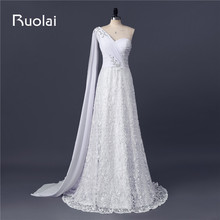 Real Picture Sexy Sweetheart One Shoulder A-Line Chiffon Lace Wedding Dresses with Crystal Bridal Gown Vestido de Noiva FW89