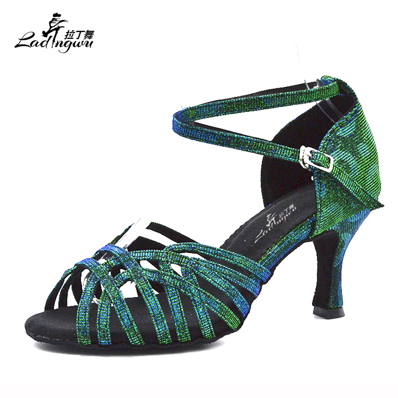 Ladingwu 2018 New Green Flash Cloth Salsa Dance Shoes Soft Bottom Latin Kizomba Tango Ballroom Dance Shoes Heel 6/7.5/8.5/10cm