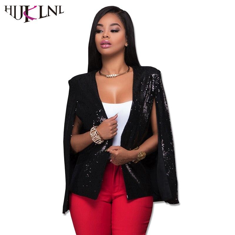 HIJKLNL veste femme 2017 Otoño Mujeres Sexy Clubwear Lentejuelas Ladies Coat Jac
