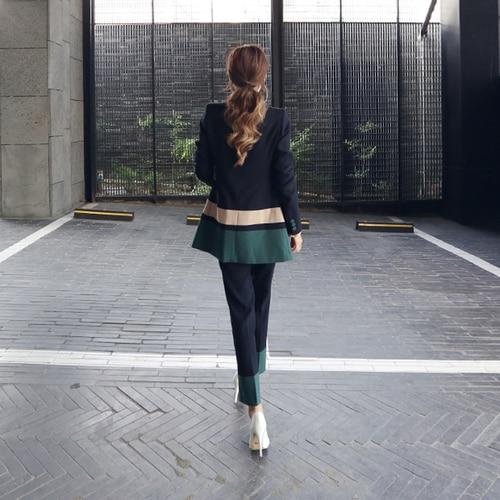 2018 New Autumn And Winter Long Double Breast Patchwork Color Hit Elegant Office Lady Two Pcs Set Suit Femme