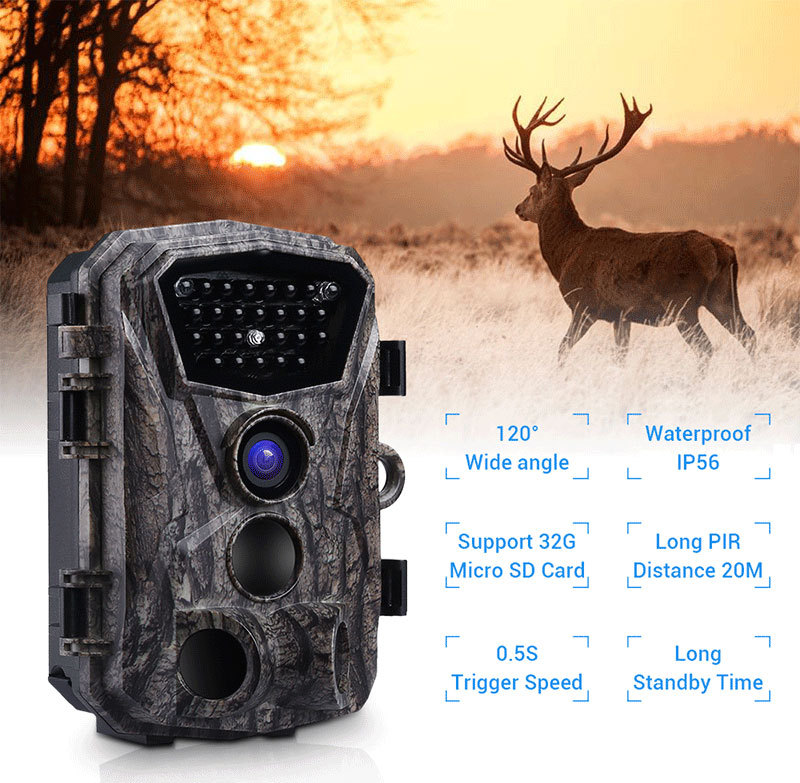 PDDHKK Trail-Camera Night-Vision Wildlife-Hunting-120 1080P HD for Degree-Angle Trigger-Time