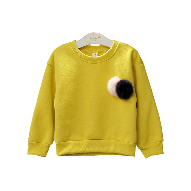 Baby Girls Clothes 2016 New Design Long Sleeve Soild Lovely Ball Kids Sweatshirts Autumn Winter Children Pullover Top For 2-7Y
