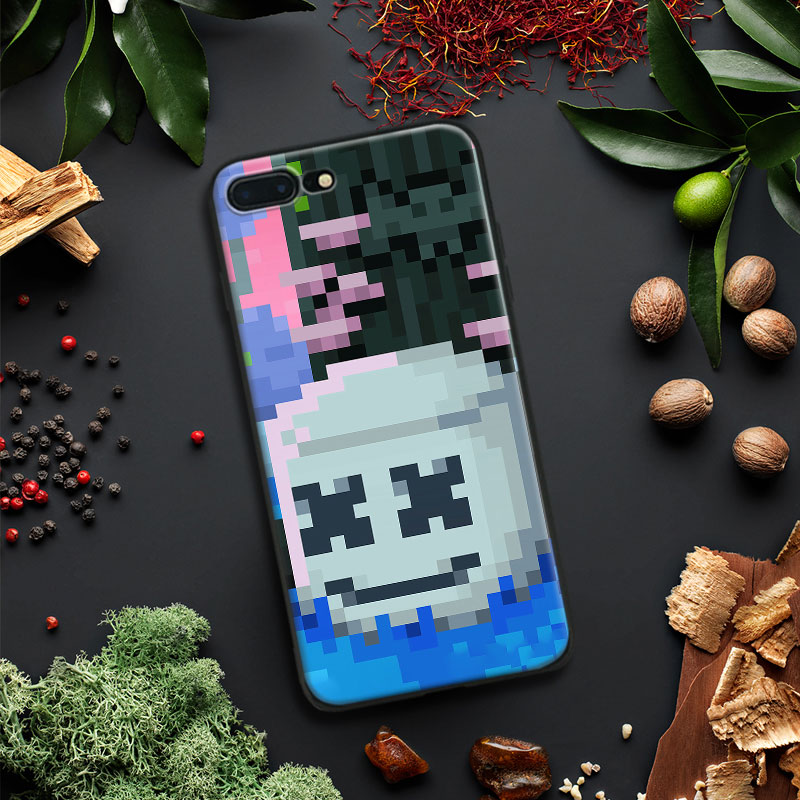 DJ Marshmello 8 bit Pattern Style Tpu Soft Silicone Phone Case Cover Shell For Apple IPhone 5 5s SE 6 6s 7 8 Plus X 10