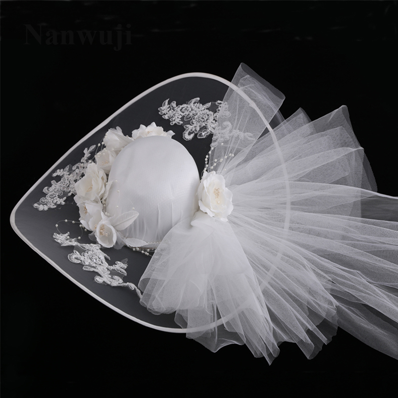 2017 New Vintage Linen Lace Bridal Hats Lace Appliques Flowers With Pearls Wedding Hats For Bride Wedding Accessories