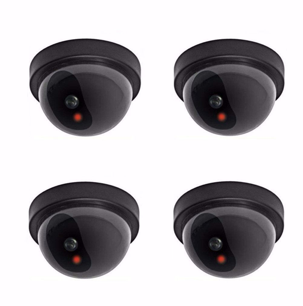 4X W/ Flashing Red LED Light Dummy Fake Surveillance CCTV Security Dome Camera hot sale outdoor waterproof red led fake dummy ptz speed dome cctv security camera blinking flashing light