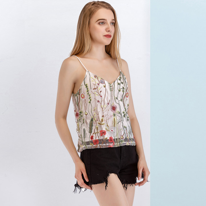 Onlyplus Mutil Color Sweet Loose Cami Straps Mesh Embroidery Tops Strap Off Shoulder Shirt Tops Backless Casual Summer Crop Top