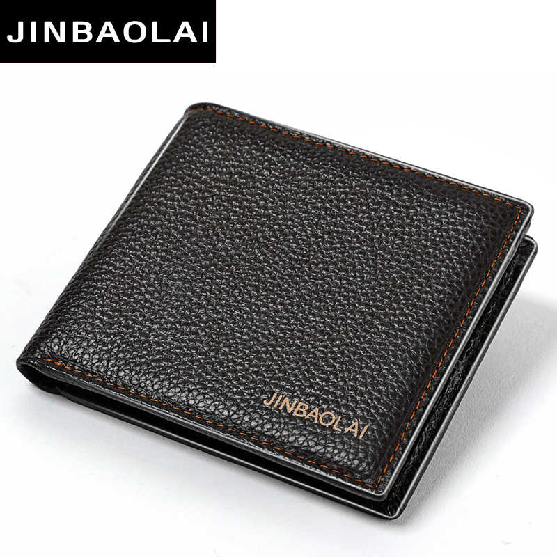 JINBAOLAI Simple Men Wallets Leather Genuine Card Holder Wallet Solid Short Male Purse Business Brand Wallets for men carteira