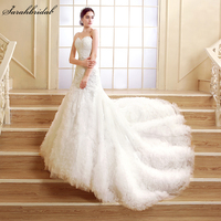 2015 Fashion Ivory Appliques Sweetheart Long Wedding Dresses Elegant Mermaid Train Tulle Bridal Gowns Dresses Real