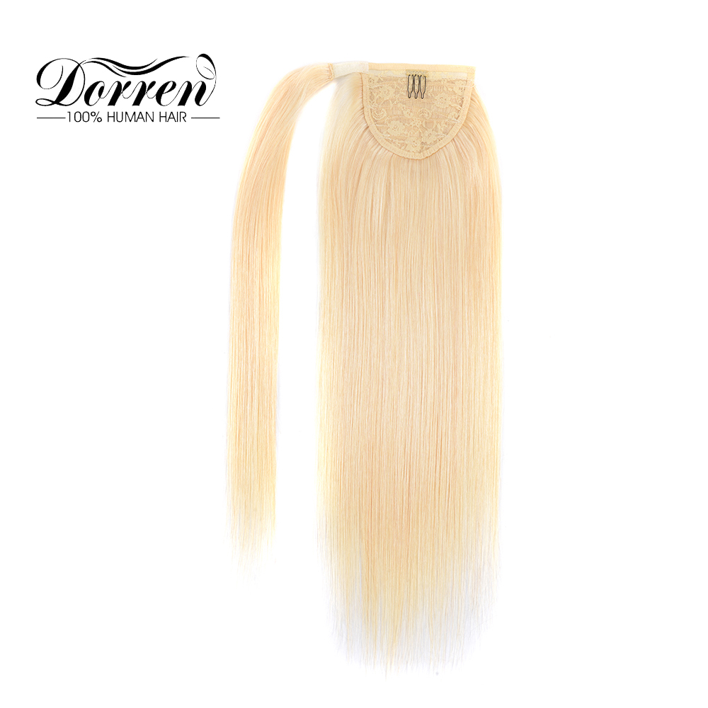 "Doreen Haar Pferdeschwanz Menschliches Haar Extensions Maschine Made Remy Haarteile Gerade Blonde Clip In Haar Extensions 16 ""18"" 20 ""100g"