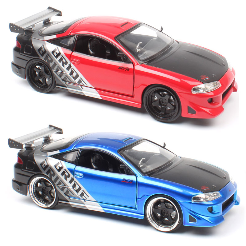 1/24 Jada 1995 Mitsubishi Eclipse Bride Racing Diecast Vehicles Metal Sports Auto Car Model Scale Toys Miniature Gift Kid's Boy
