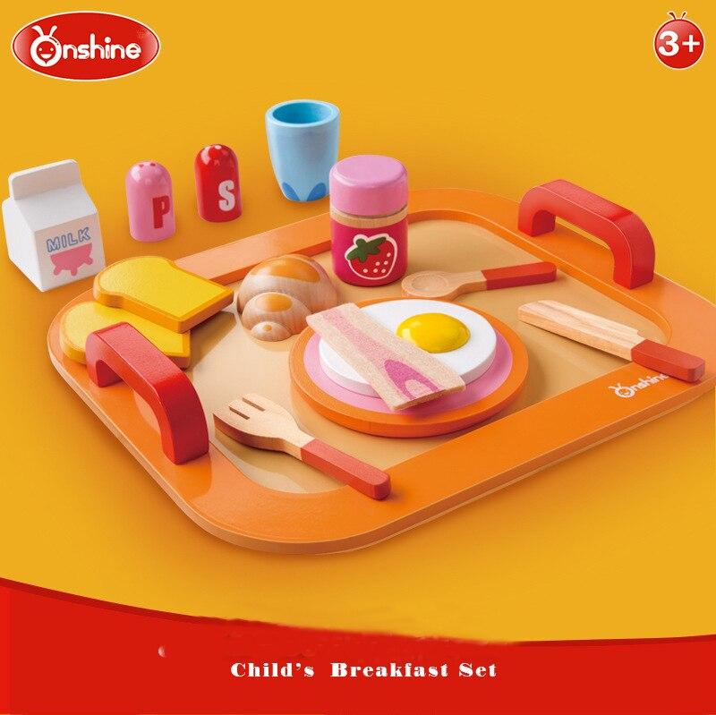 Onshine Enfants Coloré En Bois Alimentaire Toys Petit Déjeuner Pretend Play Cuisine Toys Set Pour Enfants