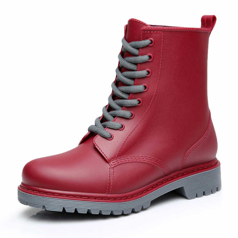 Impermeables Liso Nong Encaje Plano Chundong809 Feng Maduras Mujer Botas Lluvia Zapatos Coser Con Agua Goma De PwkOn0