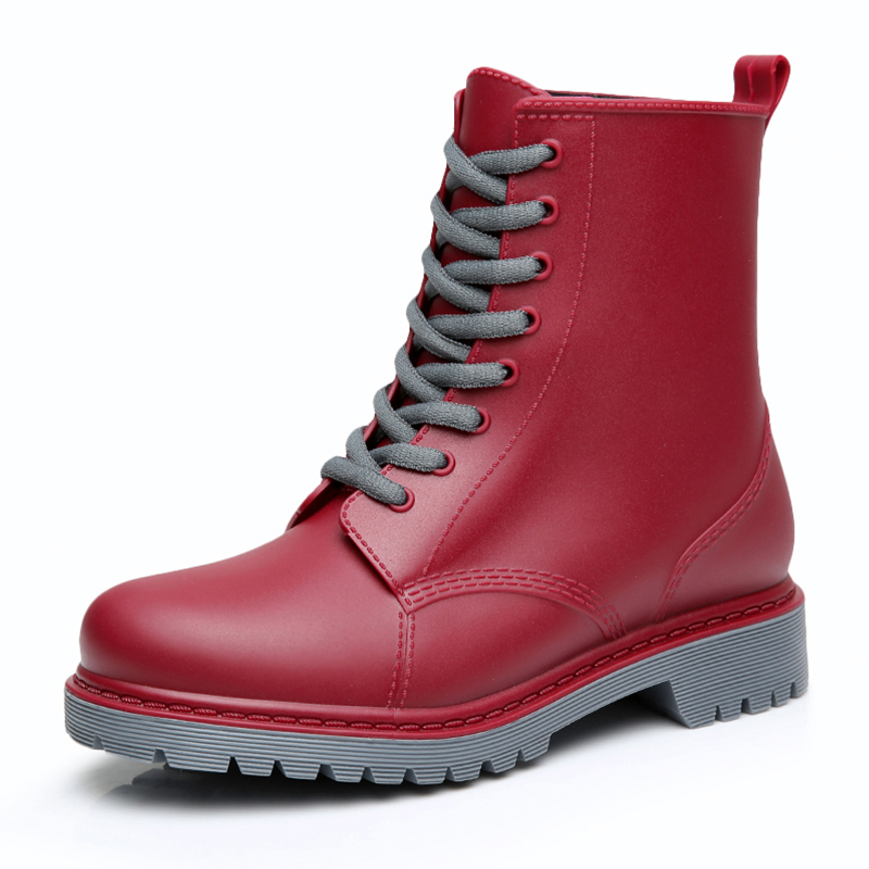 Image 5 - Feng Nong Rain Boots Waterproof Shoes Woman Water Rubber Lace Up Mature Boots Sewing Solid Flat With Shoes Chundong809-in Ankle Boots from Shoes