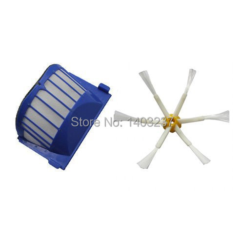 Aero Vac Filter Side Brush 6-Armed for iRobot Roomba 500 600 Series 536 550 551 552 564 620 630 650 660 Vacuum Cleaning Robotic aero vac filter bristle brush flexible beater brush 3 armed side brush tool for irobot roomba 600 series 620 630 650 660