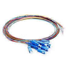 QIALAN 1m 2m  12 Fibers SC/UPC 9/125 Single Mode unjacket Color-Coded Fiber Optic Pigtail