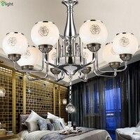 Modern Simple Glass Led Pendant Chandeliers Lustre Crystal Chrome Metal Bedroom Led Chandelier Lighting Dining Led