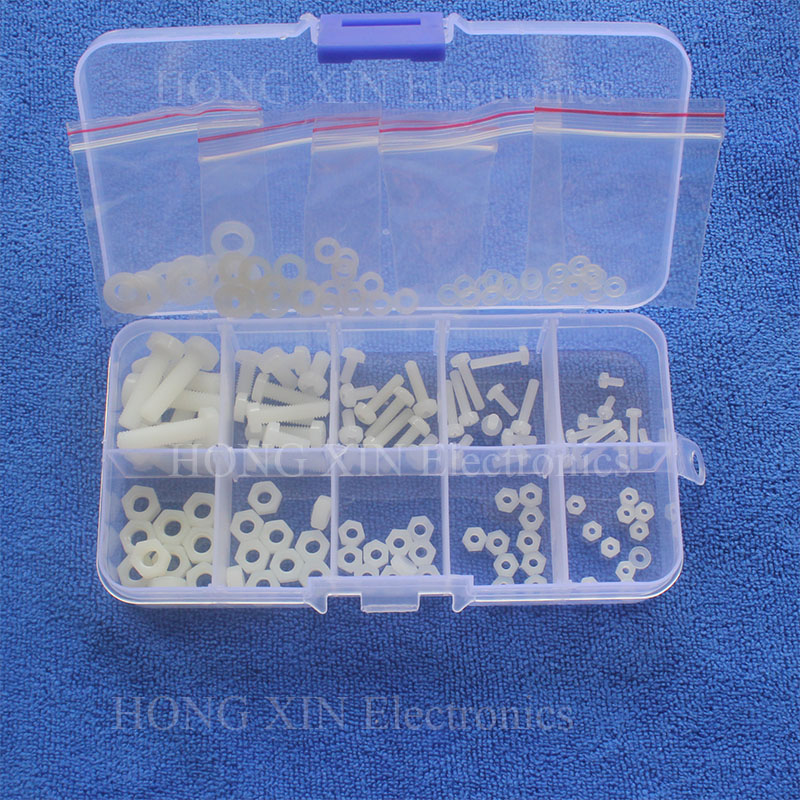 Hot 150Pcs M2 M2.5 M3 M4 M5 Nylon Hex Screw Bolt Nut Standoff Spacer Assortment Kit White
