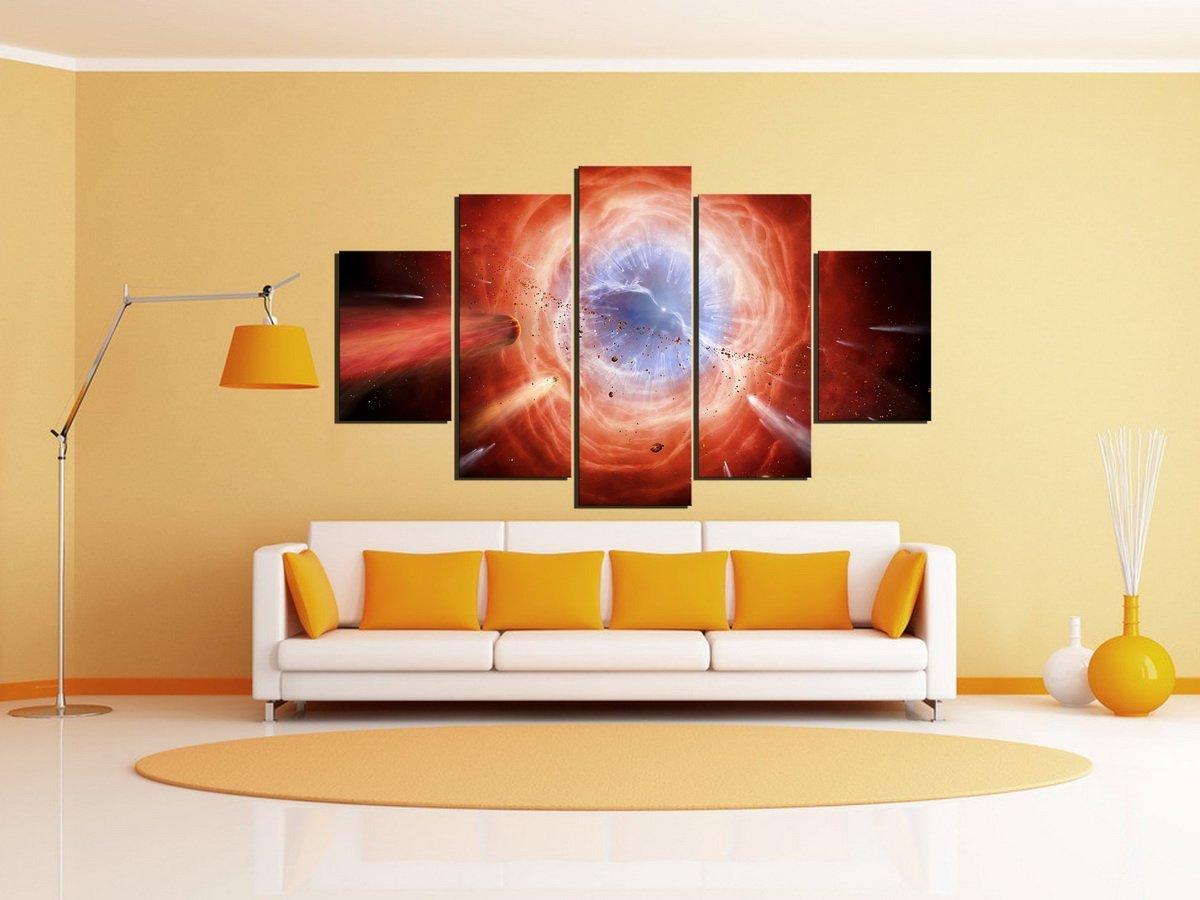5 Panel Universe Canvas Print Black Hole Wall Art Decor Universe ...