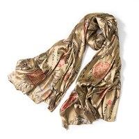 Новые зимние теплые плотного шелка lustrine гнилой золотой бамбук шелковые шарфы и платки удлинен и расширен