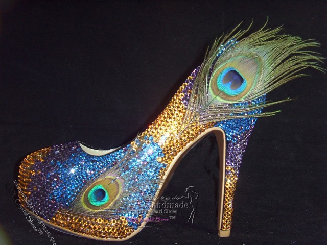 ca446ac9a001 sexy Customized Fashion Peacock Feather Platform Funky Wedding Bridal Shoes