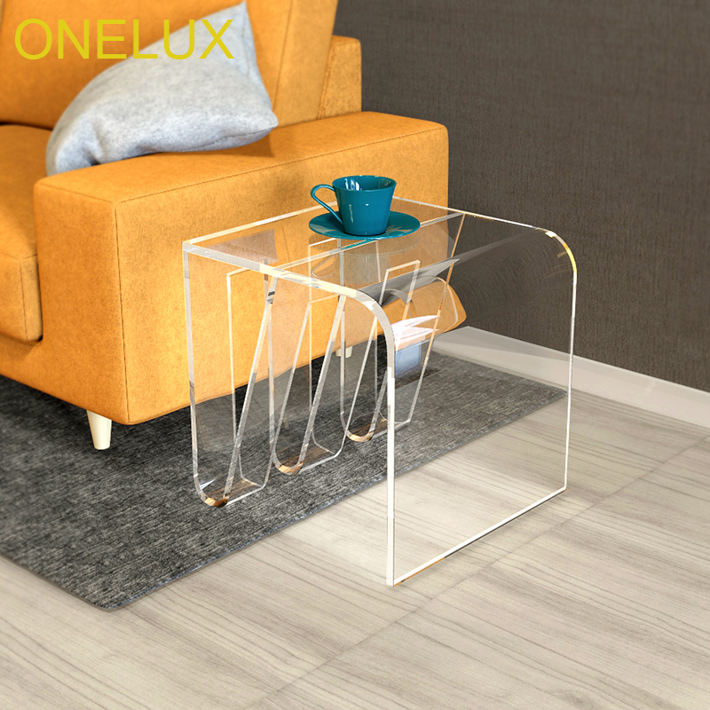 Elegant Acrylic Side Tea Table With Magazine Rack,Lucite Occasional Table - 45W45D45H CM acrylic laptop desk perspex plexiglass lucite laptop table coffee side table acrylic furniture