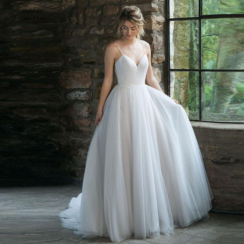 2019 New Sleeveless Tulle V-neck Sweep Train Floor-length Zipper Beach Tank Simple Wedding Dress Beading Vestido De Noiva China