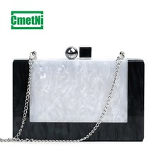2019 new simple fashion acrylic ladies clutch bag black and white marble single room Messenger