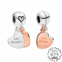 2019 Mother's Day Mother & Daughter Love Heart Dangle Charm fits Pandora Bracelet Bangle charm silver 925 Original DIY Berloque.