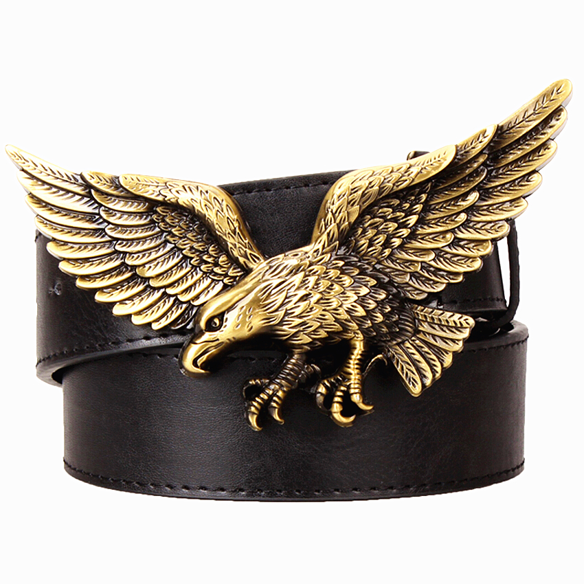 Casual Men's belt Golden Flying eagle belts hawk metal buckle punk rock style trend women decorative belt for men gift