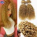 3PCS Indian Honey Blonde Kinky Curly Hair Blonde Weave Strawberry Blonde Curly Hair Extensions Tissage Blonde Human Hair Weft