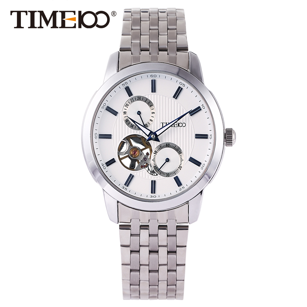 TIME100 Fashion Men's Mechanical watches Self-Wind Skeleton Automatic Watch Stainless Steel Band Business Wrist Watches For Men lee luxury fashion automatic self wind movement men s watch stainless steel luminous mechanical watches men s male watches m104