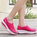 2015 Aumento de la Altura Zapatos Causales de Las Mujeres Del Verano Zapatos de Deporte de Moda Zapatos Para Caminar deporte Mujeres Columpio Plataformas Shoes Transpirable