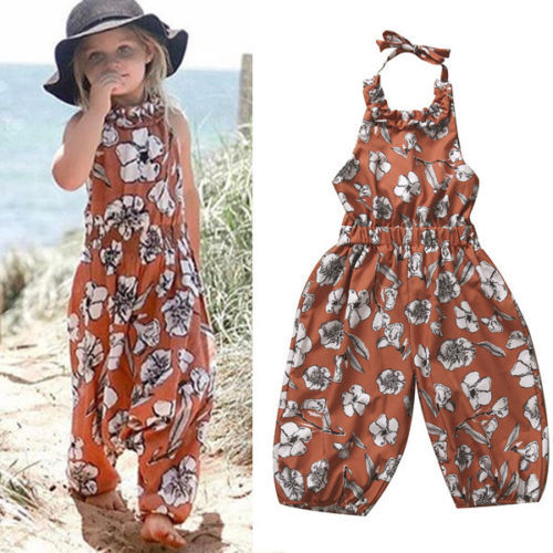 9054ed5d9b36 Toddler Kids Baby Girls Romper Clothes Summer Sleeveless Floral Jumpsuit  Toddler Kids Tassel Khaki Blackless Outfits Sunsuit