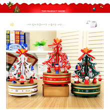 Rotating Music Wooden Christmas Tree Music Box Christmas Gift for Friends Kids Home Indoor Decoration Hot Sale Colorful #20