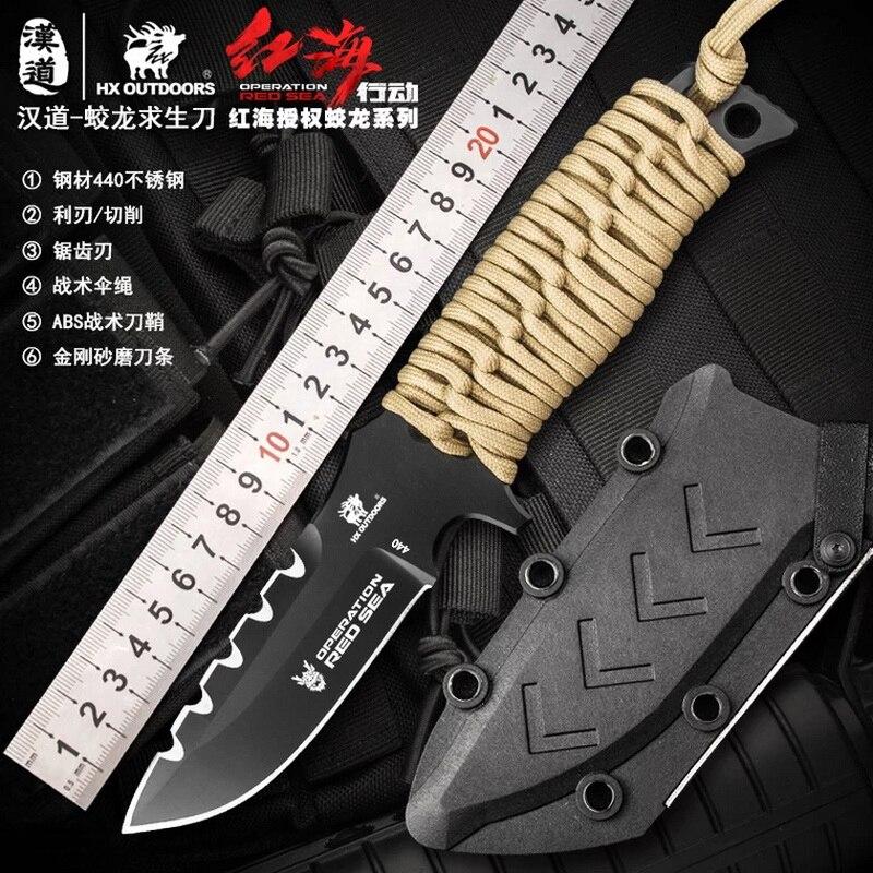 12472e19afb2 HX EXTÉRIEUR Fonctionnement ROUGE MER Survie Couteau Droit 440C Un Lame en  acier Tactique Défense Couteaux Avec Corde ABS Kydex EDC couteau