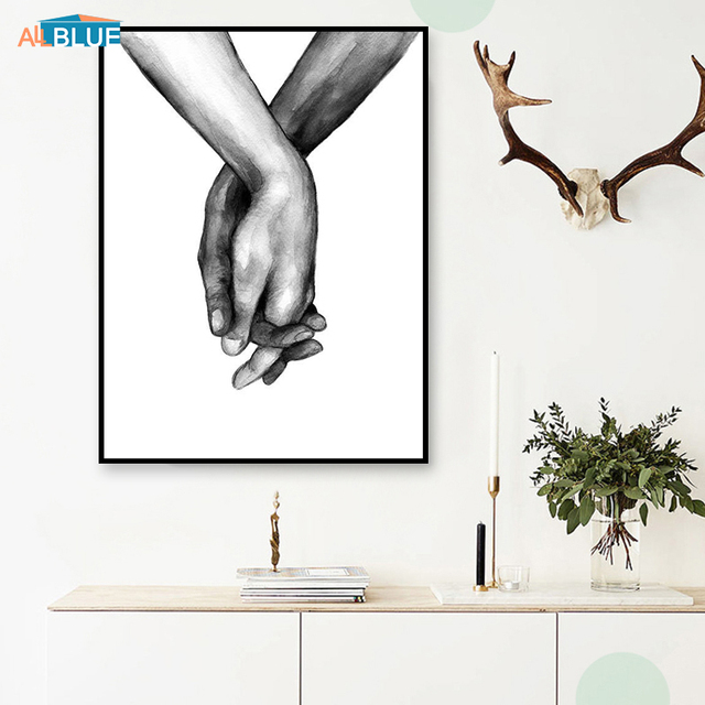 Nordic Poster Black And White Holding Hands Canvas Prints Lover Quote Wall Pictures For Living Room Abstract Minimalist Decor