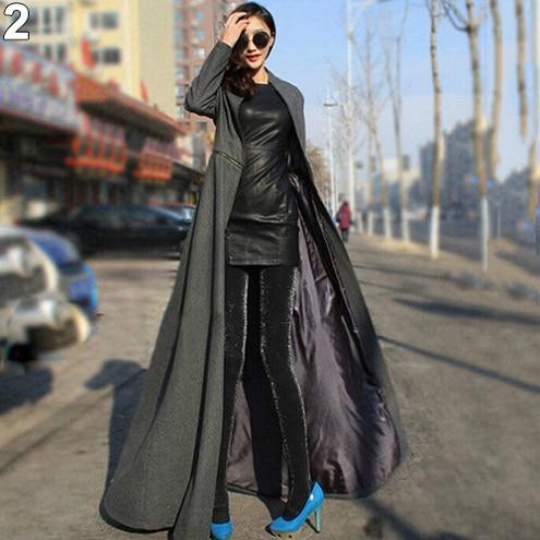 Women Fashion Winter Warm Elegant Slim Fit Super Long Woolen Cloth Dust Coat 2017