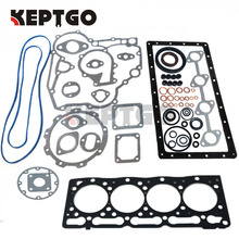 цена на For Kubota engine parts V1505 full gasket set with cylinder Head gasket 16394-03310 metal