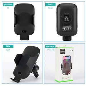 Image 5 - QI voiture chargeur sans fil capteur infrarouge support de montage charge rapide pour iPhone XS Max XR X Samsung Galaxy Note 10 9 S10 Plus S9 S8